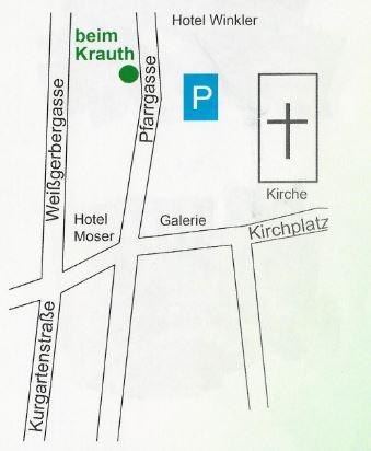 Lageplan Buch Papier Spielwaren W. Szedlarik beim Krauth Bad Hofgastein Pfarrgasse