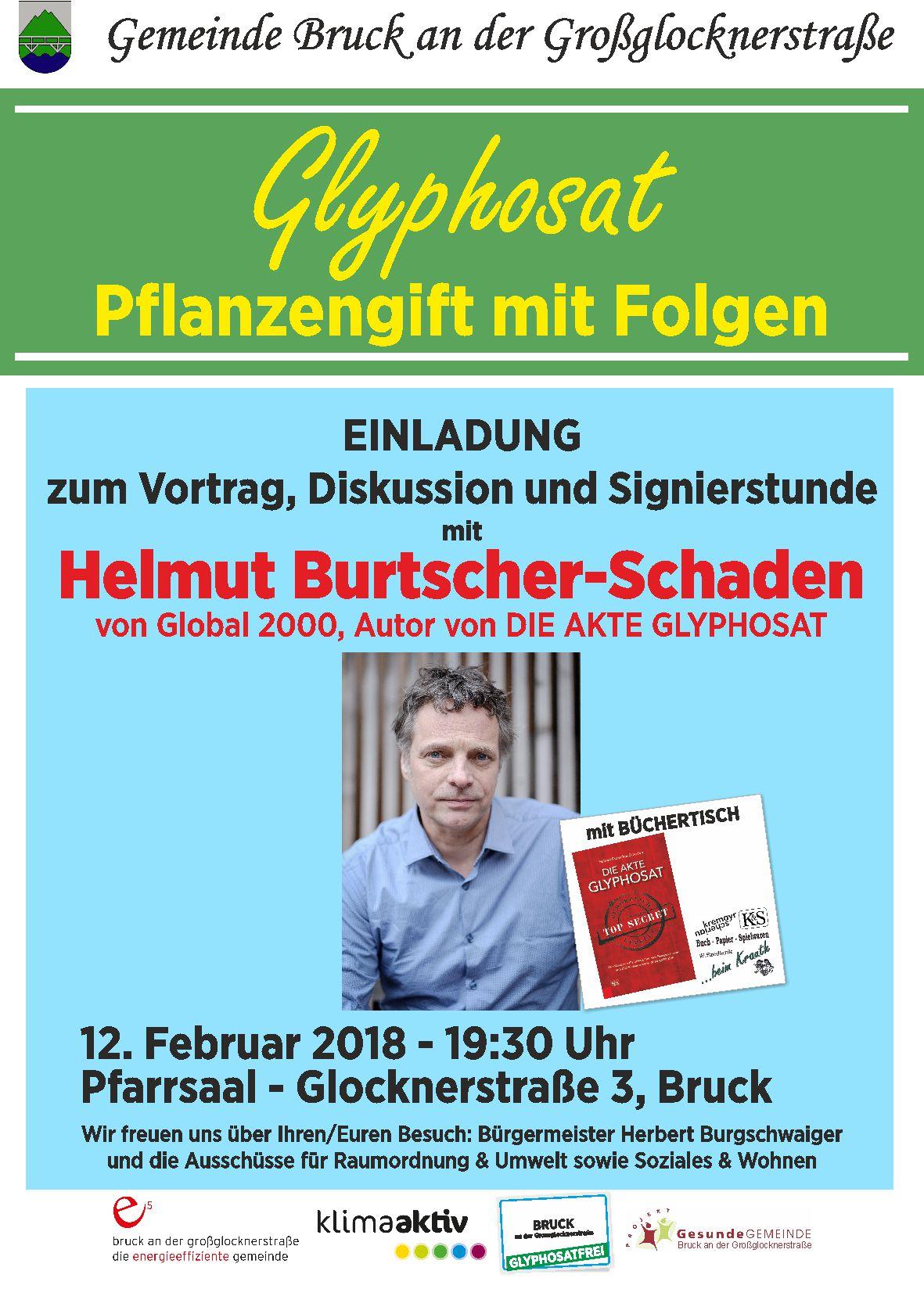 beim Krauth Büchertisch beim 12.2.2018 Vortrag Glyphosat in Bruck an der Glocknerstraße von Helmut Burtscher-Schaden