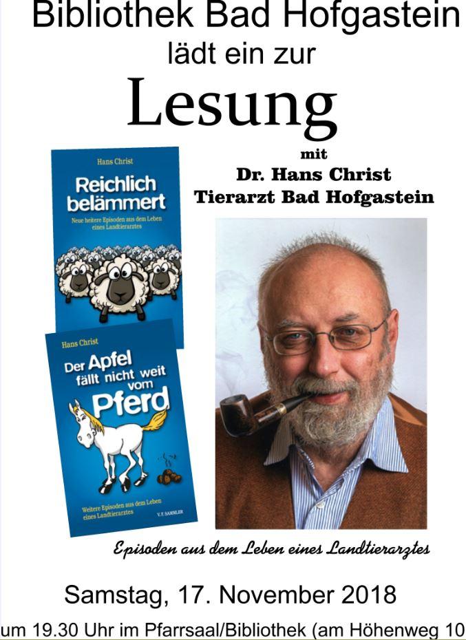 Lesung von Dr. Hans Christ - Landtierarzt und Buchautor am Samstag, den 17. November 2018 im Pfarrsaal von Bad Hofgastein