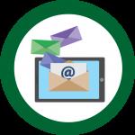 E-Mail in einem grünen Kreis.