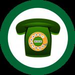 Telefon in einem grünen Kreis.