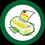 Faxgerät in einem grünen Kreis.